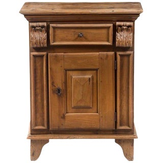 17th Century Italian Walnut Single Drawer Over Single Door Cabinet For Sale