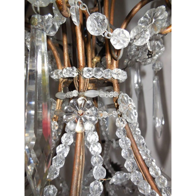 French Beaded Balloon Crystal Chandelier, circa 1940 For Sale - Image 9 of 11