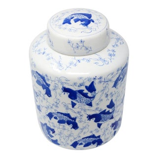 Vintage Round Ginger Jar With Hand-Painted Koi Fish For Sale