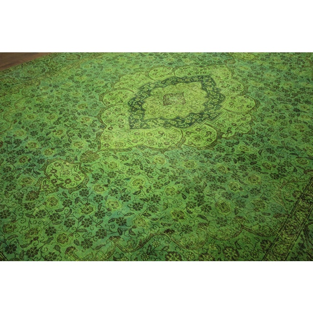 "Lime Green Overdyed Tabriz Area Rug - 9'5"" x 12' - Image 4 of 10"