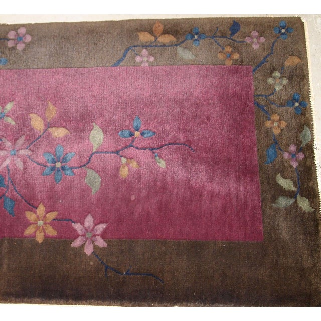 1920s Handmade Antique Art Deco Chinese Rug 1.10' X 3.10' For Sale In New York - Image 6 of 10