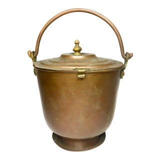 Antique Copper Colonial Style Ice Bucket For Sale