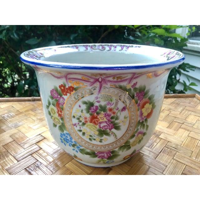 Floral and Swag Gilt Porcelain Cachepot Planter For Sale - Image 11 of 12