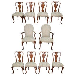 John Widdicomb Set of 10 Walnut Queen Anne Dining Chairs