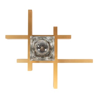 Mid-Century Modernist Flush Mount Brass and Cubed Glass Fixture by Sciolari For Sale
