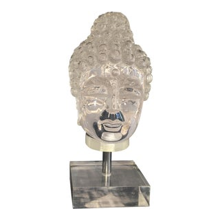 Vintage Lucite Buddha Head on Lucite Stand For Sale