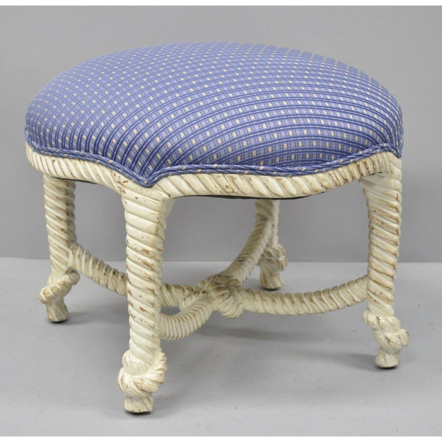 Blue Late 20th Century Vintage Italian Hollywood Regency Rope & Knot Carved Wood Napoleon III Stools- A Pair For Sale - Image 8 of 9