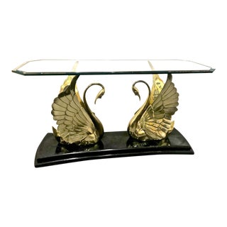 Brass and Glass Swan Console Table For Sale