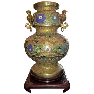 Large Oriental Champleve Cloisonne Urn on Stand For Sale