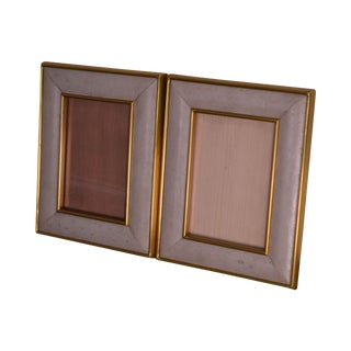 Maitland Smith Ostrich Leather & Brass Pair Picture Frames For Sale