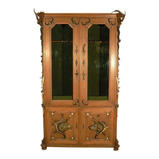 1900s Antique Black Forest Antler Cabinet For Sale