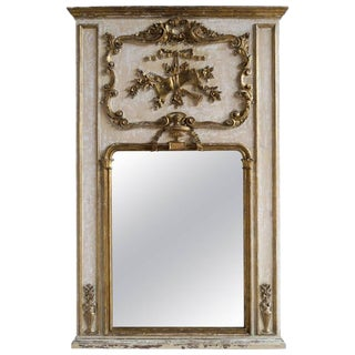 French Painted and Parcel-Gilt Mirror, Circa 1930 For Sale