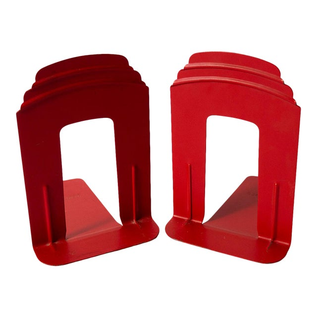 Vintage Red Library Bookends - a Pair For Sale