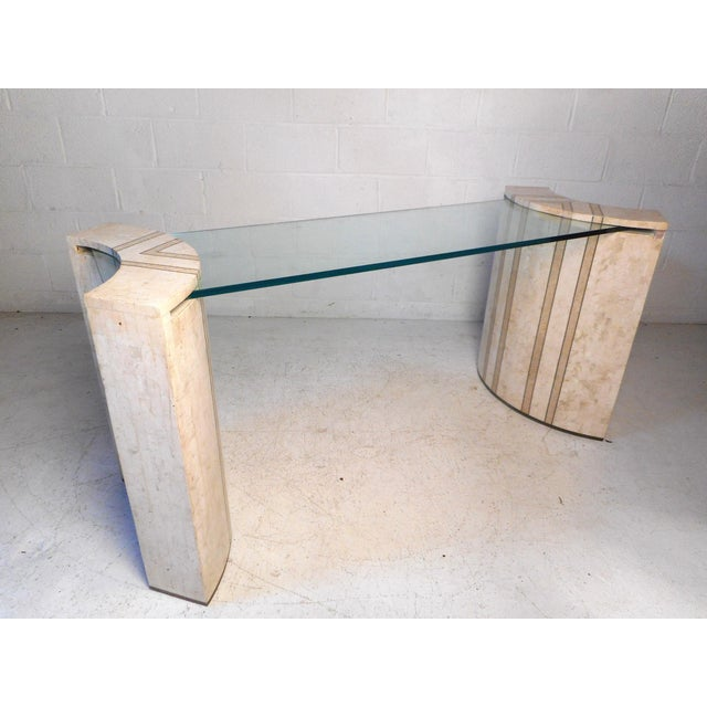 Vintage Modern Tessellated Marble and Glass Hall Table After Maitland-Smith For Sale - Image 12 of 12