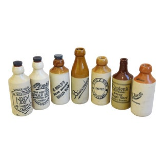 Antique English Stoneware Beer Ale Bottles - Set of Seven For Sale