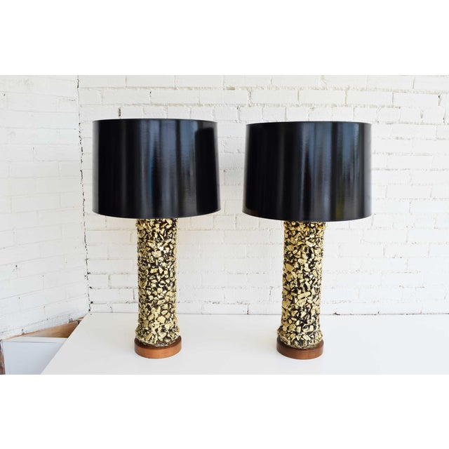 Kelly Wearstler style gilt chunky nugget lamps with black reveal. Heavily textured, brutalist style. Very rare. Shades not...