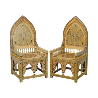Unusual Pair of Middle Eastern Decorated Hall Chairs For Sale
