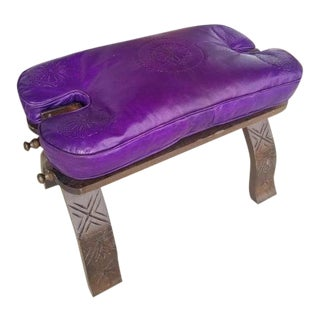 Modern Moroccan Purple Camel Saddle Leather Cushion Wooden Base Stool For Sale