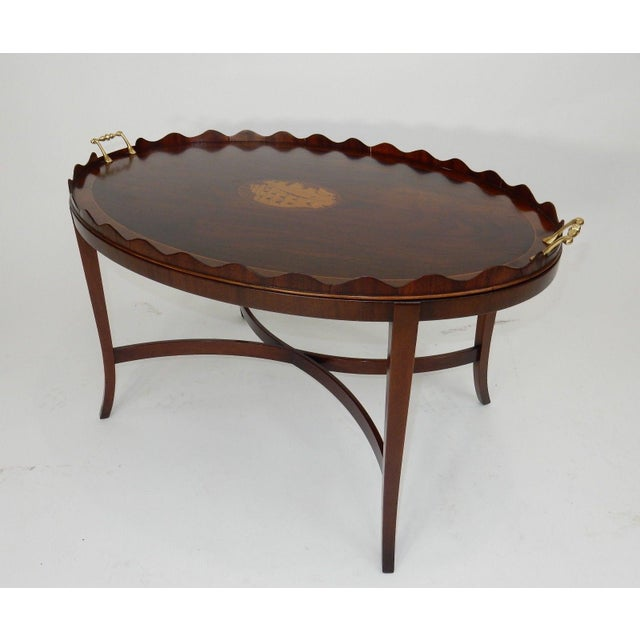 Kittinger Furniture Company Occasional / Side Serving Table. Gorgeous Inlaid and Banded Mahogany. Removable Serving tray...