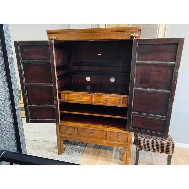 Mid 20th Century Mid 20th Century Vintage Chinese Armoire For Sale - Image 5 of 13