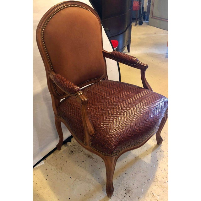 Brown Suede and Tweed Leather Bergère Arm or Office Desk Chair Brunschwig & Fils For Sale In New York - Image 6 of 11