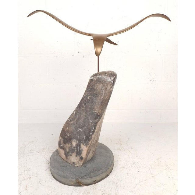 Mid-Century Modern Style Brass and Marble Seagull Sculpture For Sale - Image 5 of 8