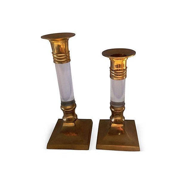 Lucite & Brass Candle Holders - Pair - Image 1 of 3