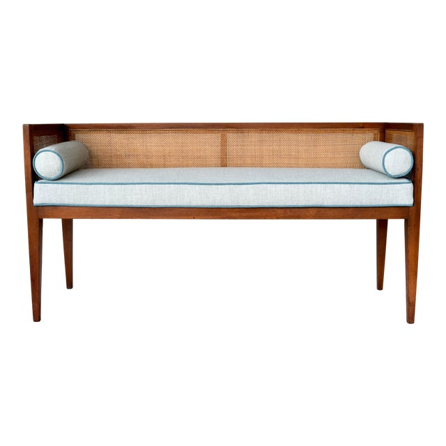 1950s Walnut Window Bench Attributed to Edward Wormley for Dunbar For Sale