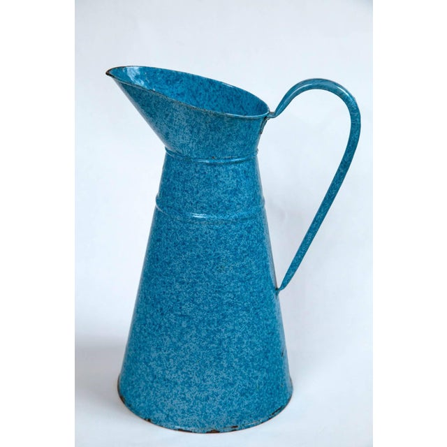 Vintage French Enamelware Pitcher, Circa 1920 For Sale - Image 4 of 6