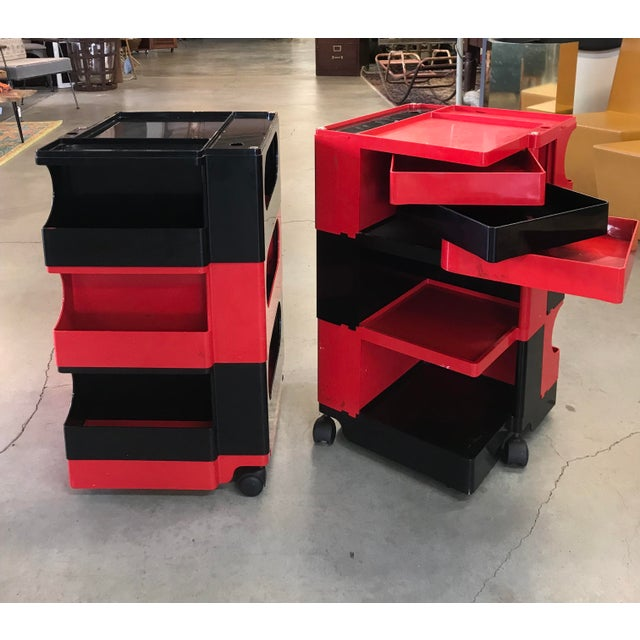 Black and Red Original Vintage Joe Colombo Boby Trolley Carts -A Pair For Sale - Image 9 of 13