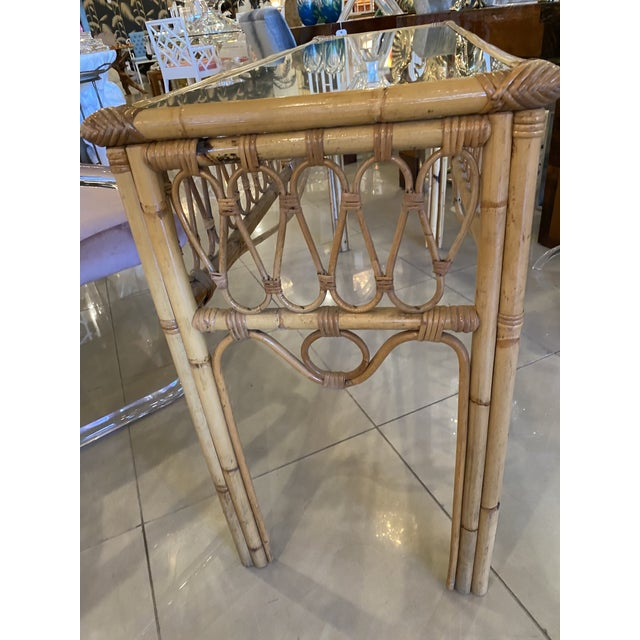Wood Vintage Tropical Palm Beach Rattan Glass Top Console Sofa Table For Sale - Image 7 of 12
