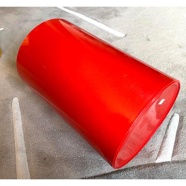 Great vintage red plastic Kartell wastebasket by G. Colombini.