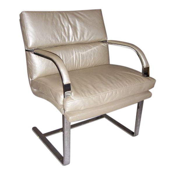 A Heavy Steel Brueton Chair in Leather - Image 1 of 5
