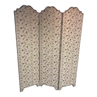 Floral Embroidered Upholstered Screen