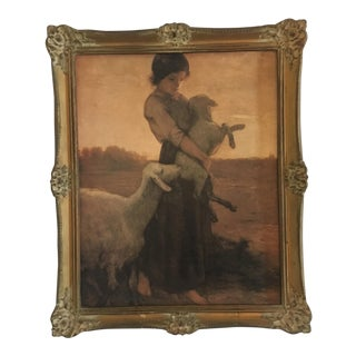 Framed Giclée Picture of a Shepherdess and Sheep