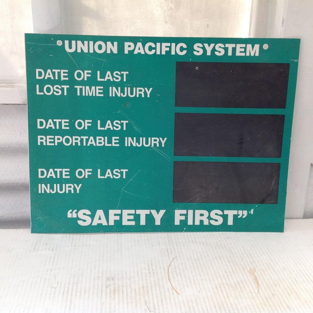 Cool vintage Union Pacific Systems shop sign. This sign would have hung in a work shop were everyone could see it. This...