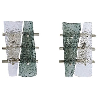 Geometric Crystal & Aqua Green Murano Glass Nickel Sconces - A Pair For Sale