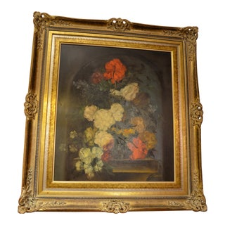 Traditional Floral Still Life Oil Painting in Ornate Carved Gold Frame For Sale