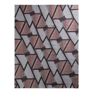 Rug & Kilim's Scandinavian Style Kilim Rug in Gray and Pink Geometric Pattern