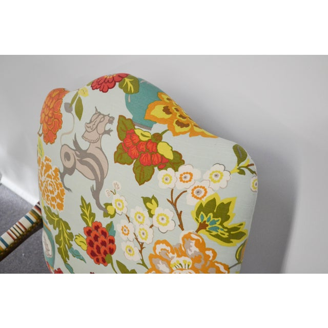 Modern Occasional Chair in Fabricut Print With Mohair For Sale In New York - Image 6 of 7