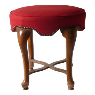 Yale Burge Red Upholstered Low Stool For Sale