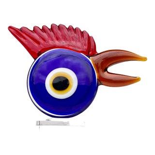 Vintage Modern Abstract Blown Art Glass Big Eye Rooster Chicken Sculpture For Sale