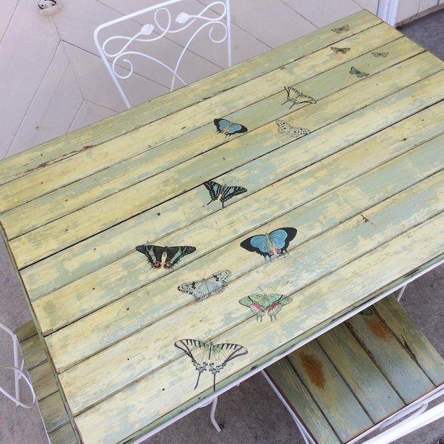 Vintage Woodard Metal and Bead Board Patio Set - Table and 4 Chairs For Sale - Image 9 of 13