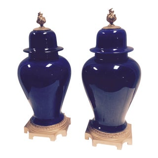 Bronze Mounted Sevres Cobalt Ceramic Urns - A Pair For Sale