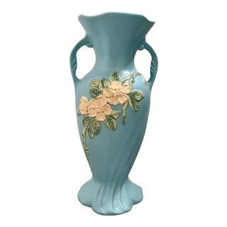 Late 19th Century Weller Sky Blue Floral Vase For Sale