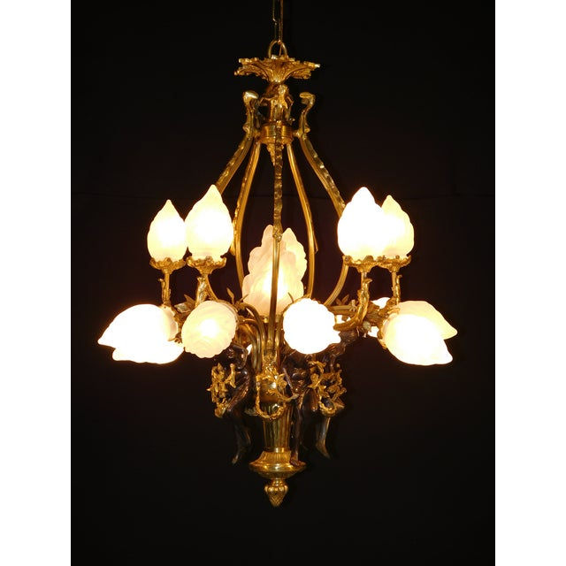 Antique Bronze Maidens Flame Globe Chandelier For Sale - Image 9 of 13