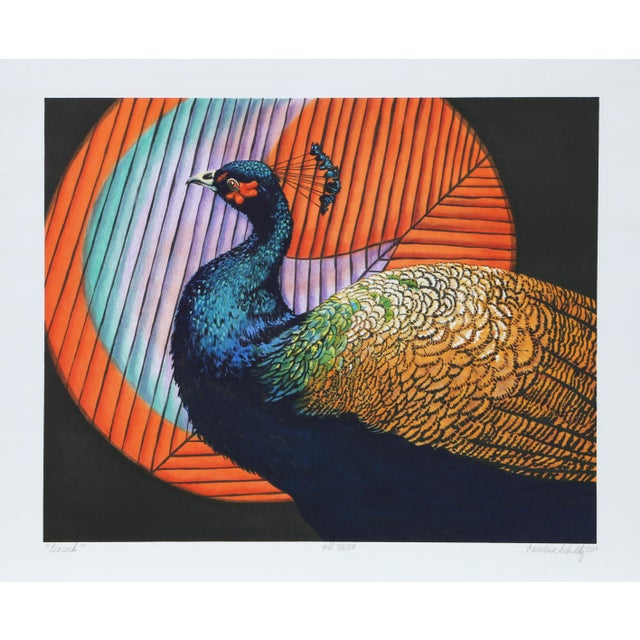 "Caroline Schultz, ""Peacock"", Photorealist Bird Lithograph For Sale - Image 4 of 4"