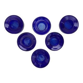 Cobalt Blue Glass Candles Holders - Set of 6 For Sale