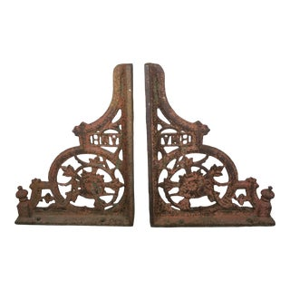"Pair of 19th Century American Painted Cast Iron Architectural Brackets ""Amh"" For Sale"