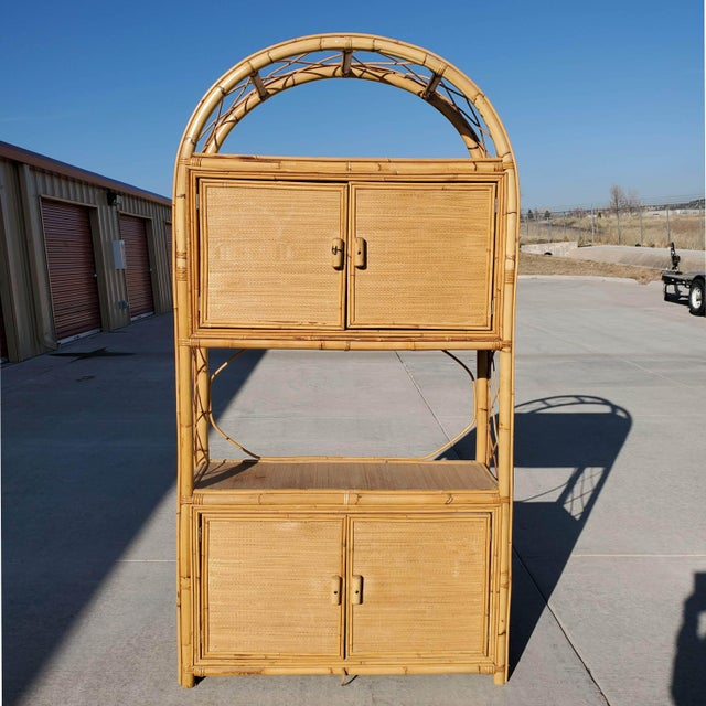 Vintage Bamboo Display Cabinet For Sale - Image 10 of 10